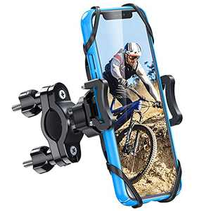 Bike & Motorcycle Phone Mount with Detachable Cell Phone Holder, Anti Shake and Securely Hold, Adjustable Phone Mount for Bicycle Handlebars Easy to Install, Universal for iPhone/Android from 4''-7''