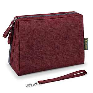 BALEINE Large Makeup Bag Toiletry Bag for Women Travel Size Toiletries Cosmetic Bag, Dark Red, 1-Pack