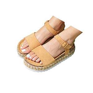 RAGEFIVE Ankle Strap Espadrilles Sandals for Women Casual Summer Dressy Platform Sandals Womens Wedge Sandals Open Toe Flatform Sandals