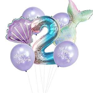 Mermaid Birthday Party Balloons Decorations for Girls 2nd Party, Large Mermaid Tail Shell Balloons Party Supplies (2)