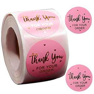 Thank You Stickers Labels Roll,500pcs 1 inch Self Adhesive Stickers for Your Order,Small Business,Baking Packaging,Envelope Seals,Pink Stickers Tags(Pink,1 inch)
