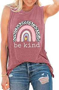Be Kind Shirts Tank Tops Women Sleeveless Summer Graphic Tank Tops Tee Shirts (Pink-Tank, M)