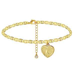 Wowshow 14K Gold Plated Anklet with Initial K Heart Pendent Flat Marina letter Anklet for Women girls