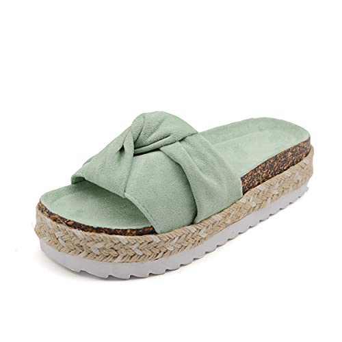 RAGEFIVE Slip On Wedge Sandals for Women Casual Summer Espadrilles Platform Sandals Cute Knot Open Toe Flatform Slides Sandals