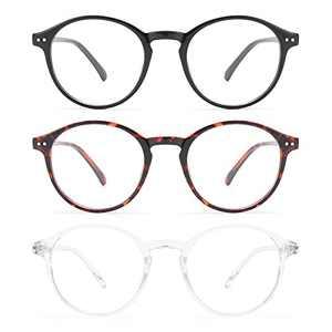 MIGSIR 3 Pack Blue Light Blocking Glasses for Computer Gaming Eye Strain, Round Fashion Fake Eyeglasses Frames for Women Men (Bright Black+ Leopard+ Clear)