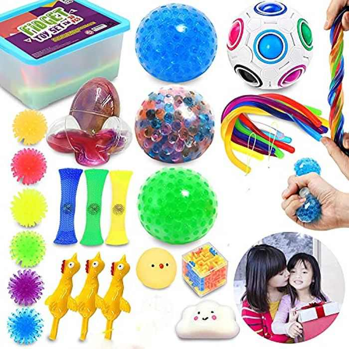 TikTok Fidget Toys Pack - 30 Pcs Mystery Box Fiddle Toys - Stress, Anxiety Relief, Autism, ADHD, OCD, Special Needs & Child Development Box Set - Squishies, Stress Ball, Push Bubble Fidget Toys & More