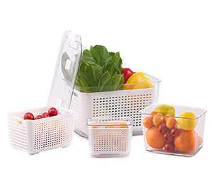 3 PACK Fresh Produce Saver Storage Containers, Vegetable Fruit Storage Container for Fridge, Easy to Clean Fridge Organizer, Keep Vegetables and Fruits Fresh