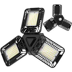 2 Pack 60W LED Garage Lights, Gelpal 6000LM 6500K Deformable Garage Ceiling Lighting Fixtures with Adjustable Three-Panels for Shop, Warehouse, Barn, Bay, Basement