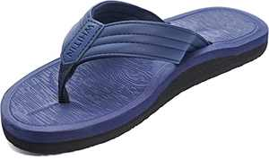 WHITIN Men's Arch Support Flip Flops Thong Casual Toe Post Sandals Non Slip Sandles Ligthweight Beach Slippers for Male Size 9 Outdoor Waterproof House Leather Summer Pool Cushion Slides Dark Blue 42