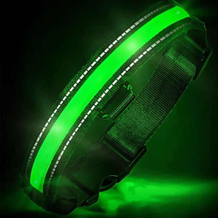 EVERSUNN LED Dog Collar USB Rechargeable Light up Dog Collar with Reflective and Adjustable Waterproof Flashing Light Glowing Dog Collars Medium