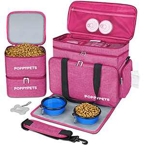POPPYPETS Dog Travel Bag with Multi-Function Pockets, 2 Silicon Travel Dog Bowls, 2 Dog Food Storage, Water-Resistant Placemat, Pink