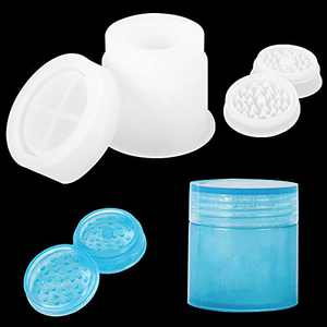 """Silicone Resin Molds for Large Round Jar and Spice Grinder,1Pair 2.7"""" Grinderwith Jar Storage Epoxy Resin Casting Mold Set, Great for DIY Herb Crusher, Jewelry Container Storage Box and Spice Bottle"""
