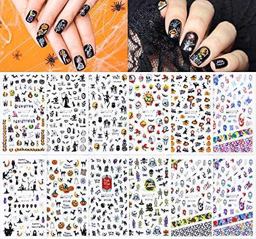 Halloween Nail Stickers DIY Water Transfer Halloween Nail Decals Day of The Dead Pumpkins Cats Bats Ghosts Skulls Nail Art for Nail Design Halloween Decor 12 Sheets