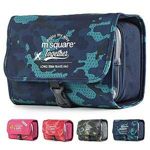 Hanging Travel Toiletry Bag, Toiletry Bag for Men and Women, Water-resistant Makeup Travel Bag Travel Organizer for Accessories, Shampoo, Full Sized Container, Toiletries (Blue)