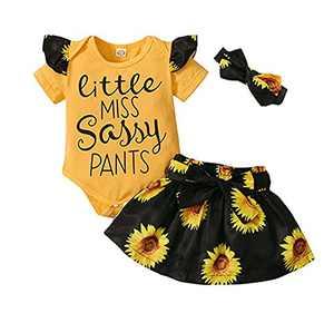 Little Miss Sassy Sunflower Infant Baby Girl Ruffle Romper Skirt Headband Outfit (Yellow, 12-18 Months)