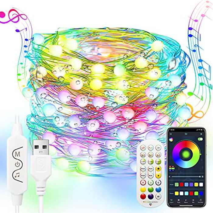 20M Dreamcolor Fairy Lights,Rgbic LED Strip Lights with Remote,Music Sync String Lights with App Control,Bluetooth Color Changing Rainbow Lights,Waterproof Fairy Lights for Bedroom Wedding Christmas