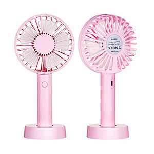 2021 Upgraded Small Desk Mini Fan with Battery Rechargeable, Portable Handheld Personal USB Fan with 3 Speed Strong Wind for Outdoor Activity, Home, Office, Eyelash Fan for Make up (Pink)