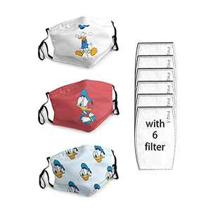 3 Packs Cloth Bandanas With 6 Filters Kids Face Mask Funny Face Masks For Adults Cute Face Masks Adjustable Washable Reusable Donald_Duck