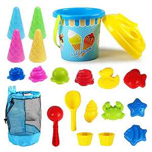 Kidtion Beach Toys 20 Pcs, Dessert-Themed Sand Toys Set with Sand Buckets and Shovels for Kids, Cute Ice Cream Sand Toys & Beach Toys with Mesh Bag, Colorful Beach Toy Set with Inspiring Molds