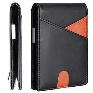 ZRTARY Men Slim Bifold Wallet with Money Clip Leather Minimalist Front Pocket RFID Blocking