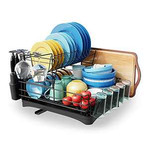Stainless Steel Large Dish Drying Rack,MOUKABAL 2 Tier Dish Rack and Drainboard Set,with Utensil Holder,Cutting Board Holder,Cup Holder,Dish Drainer for Kitchen Counter