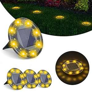Airsee Solar Ground Lights, 3x8 LEDs Solar Garden Lights with Rotation, Static Modes, Auto On/Off Wireless Solar Pathway Lights IP68 Waterproof for Patio Landscape Pathway Backyard, Warm White,4 Pack
