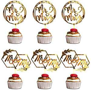 6 Pack Mr and Mrs Cake Toppers, Mr&Mrs Acrylic Cupcake Topper for Wedding Decorations Engagement Party Supply Decor