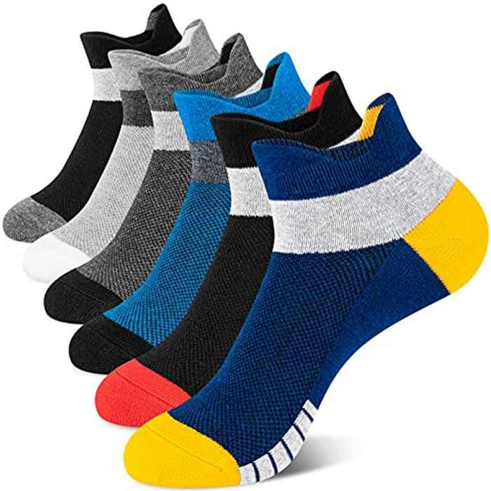 Newdora Mens Running Socks, 6 Pairs Ankle Athletic Trainer Socks With Arch Support, Breathable Low Cut Cotton Sports Casual Work Socks for Men and Women