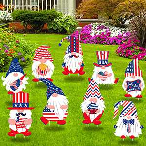 Ujuuu 9Pcs 4th of July Yard Sign Waterproof Independence Day Yard Lawn Garden Signs Decorations with Stakes for Memorial Day USA Patriotic Party Supplies (Style2)