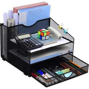 Desk Organzier Mesh Office Supplies Organization with Drawer File Accessories Storage Workspace with 4 Compartments for Women Home Desktop Paper Pen Shelf, Metallic Black