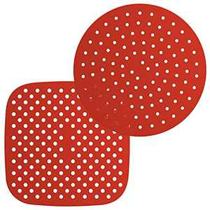 Reusable Air Fryer Silicone Liners 9 Inch Round 8.5 Inch Square Heat Resistant Mat for Air Fryer 2 pack Red