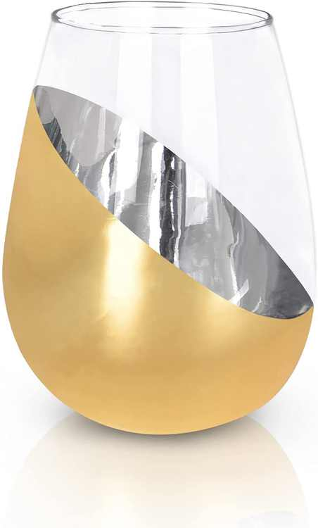 Lighsele 15 oz Wine Glass, Modern Brass Stemless Champagne Glass, Crystal Wine Glasses with Metallic Plating, Gold
