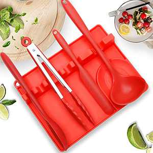Spoon Rest 2021 upgraded Larger Size with Drip Pad for Multiple Utensils, Non- Slip Silicone Utensil Spoon Holder for Kitchen Stove Top Heat-Resistant BPA-Free for Brushes Spatulas Tongs Ladles (Red)