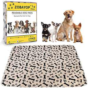 ZOBAYOP Washable Pee Pads for Dogs Reusable Waterproof Puppy Mat Small (2-Pack) 24 x 16 Cloth Potty Whelping Training Pad Extra Absorbent Pet Mat Brown S