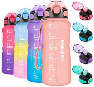 Venture Pal 32oz Motivational Water Bottle with Time Marker & Straw, Leakproof BPA Free Water Jug to Ensure You Drink Enough Water Throughout The Day for Outdoor Enthusiasts-Frosted Light Pink