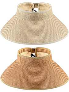 2 Pieces Sun Visor Hats Wide Brim Roll-up Straw Hats Summer Protection Beach Hat (Khaki, Beige)