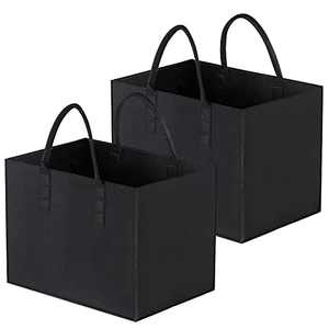 AIMICS Reusable Grocery Bags, Standing Large Storage Shopping Tote Bags, Heavy Duty Moving Bags With Reinforced Handles, 2Pack, Black