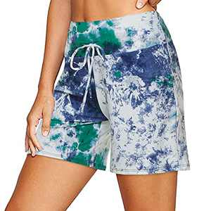 ZOOSIXX Women's Casual Shorts with Drawstring Loose Comfy Lounge Sleep Pajama Shorts Sky Blue
