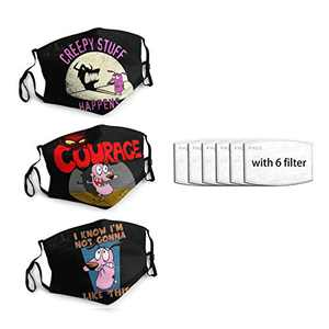 Courage-The-Cowardly-Dog Unisex Face Mask 3PC with 6 Filter Reusable Face Cover Washable Protection Dust Bandana For Man Women