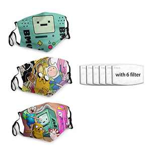 Adventure-Time-Bmo Unisex Face Mask 3PC with 6 Filter Reusable Face Cover Washable Protection Dust Bandana For Man Women