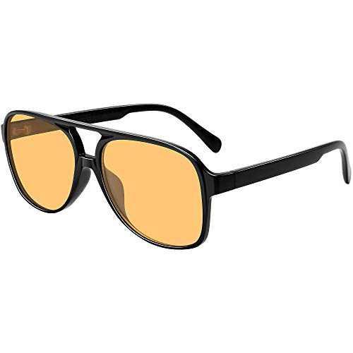 Vintage Aviator Sunglasses for Women Men 70s Classic Retro Large Sunglasses (Yellow Tinted Lens)