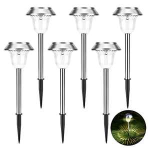 Solar Garden Lights Outdoor, 15 Lumens Super Bright Solar Pathway Lights - Stainless Steel Waterproof, Solar Powered for Patio/Yard/Pathway/Driveway, Dusk to Dawn Auto On/Off (6 Pcs)