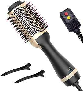 Hair Dryer Brush, DEEPCOMP Blow Dryer Brush Styler and Dryer, Hot Air Brush with Negative Ionic for Straightening, Curling, Professional Brush Hair Dryers(Golden)