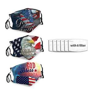 God Bless America Flag Eagle Unisex Face Mask 3PC with 6 Filter Reusable Face Cover Washable Protection Dust Bandana For Man Women