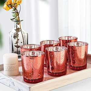 LETINE Votive Candle Holders for Table, 36pcs Mercury Glass Candle Holders(Coral), Tealight Candle Holder for Wedding Anniversary Centerpieces, Room&Bathroom Decor, Birthday and Party Table Decoration