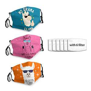 No-Drama-Llama Unisex Face Mask 3PC with 6 Filter Reusable Face Cover Washable Protection Dust Bandana For Man Women