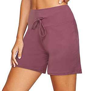 ZOOSIXX Women's Casual Shorts with Drawstring Loose Comfy Lounge Sleep Pajama Shorts Pink