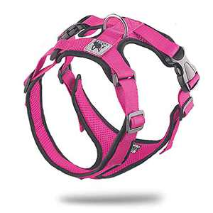 Dog Harness No-Pull Pet Harness with 2 Leash Clips Adjustable Soft Padded Dog Vest Reflective No-Choke Pet Oxford Vest with Easy Control Handle for Small to Large Dogs Pink-M