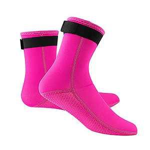 PKSANIT 3MM Neoprene Diving Socks for Men and Women, Wetsuit Socks for Swimming, Warm, Non-Slip, Waterproof, Surfing Booties Beach Socks, Long Beach Socks (Rose Red, XS)