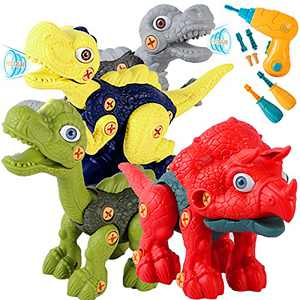 SZJJX Take Apart Dinosaur Toys for Kids 3-5, Dinosaurs Construction Building Toy Set with Electric Drill, STEM Kids Toys for 3 4 5 6 7 Year Old Boys Girls Birthday Easter Gifts